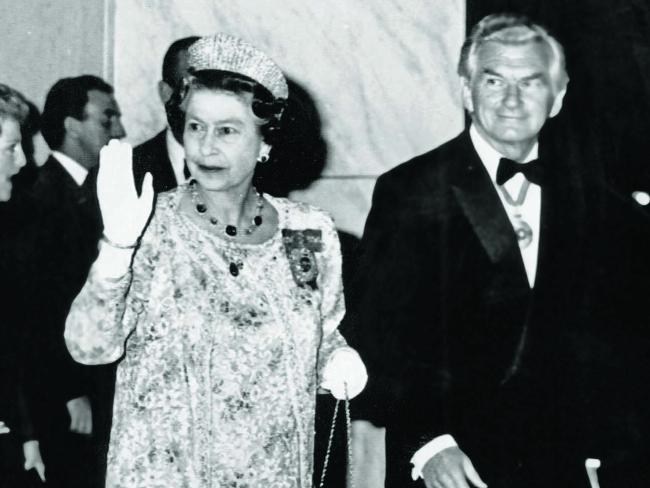 Queen Elizabeth and Bob Hawke in 1988. Picture: Supplied
