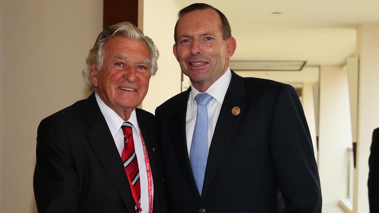 Bob Hawke and Tony Abbott in 2014.