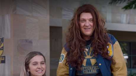 Questions are being asked about similarities between Chris Lilley's character Becky Douglas from new series Lunatics and a online skit from 2012.