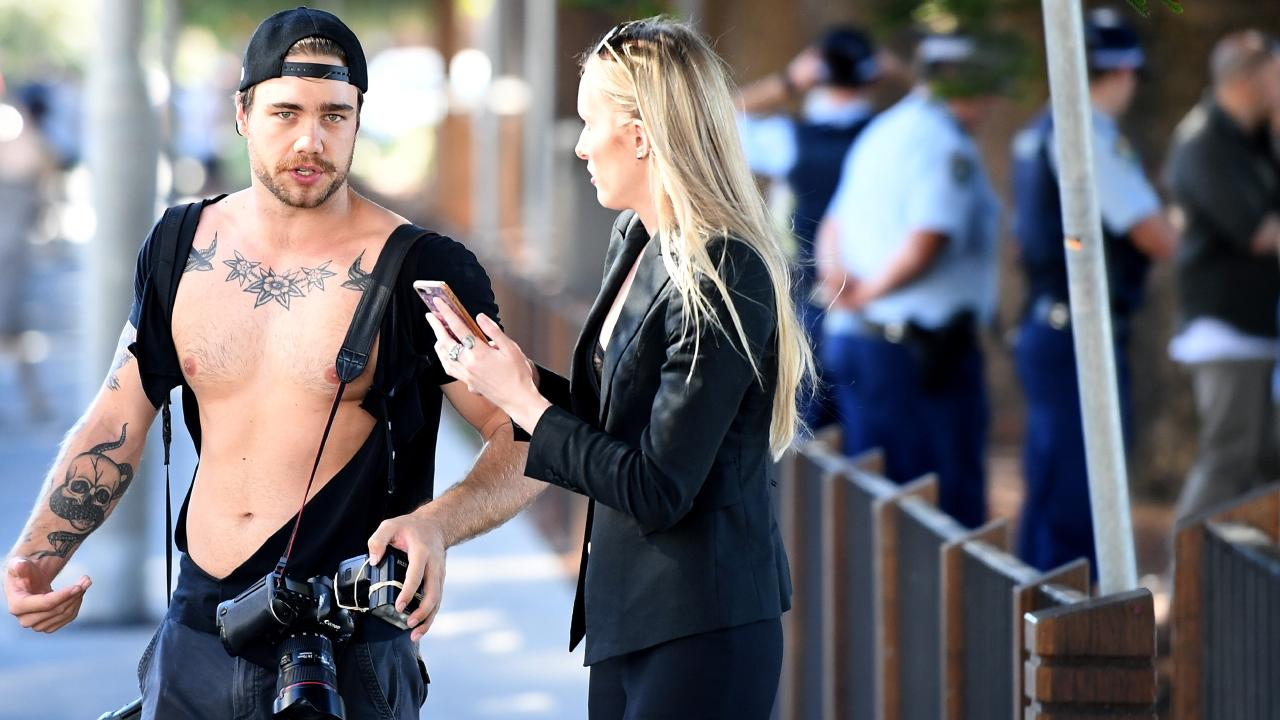 News Corp photographer Dylan Robinson and reporter Eliza Barr after the incident. Picture: AAP
