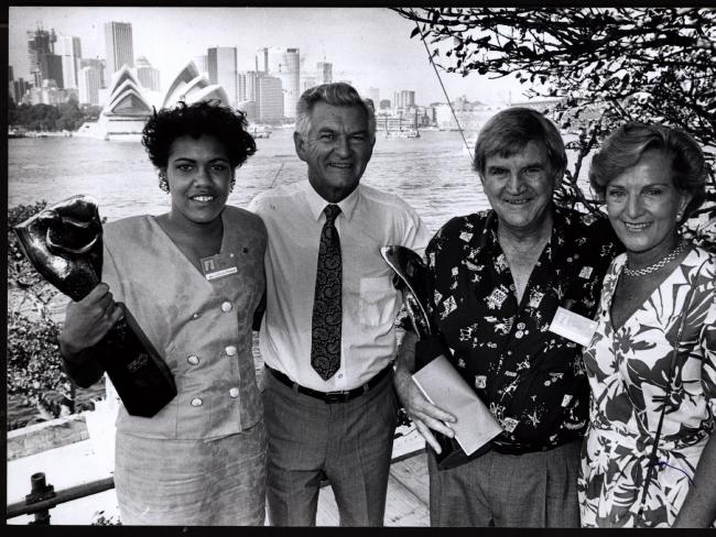 Prime Minister Bob Hawke and wife Hazel with 1990 Young Australian of the Year Cathy Freeman and Australian of the Year, eye surgeon pioneer Professor Fred Hollows after presentation ceremony at Kirribilli House in Sydney on Australia Day, 1990.
