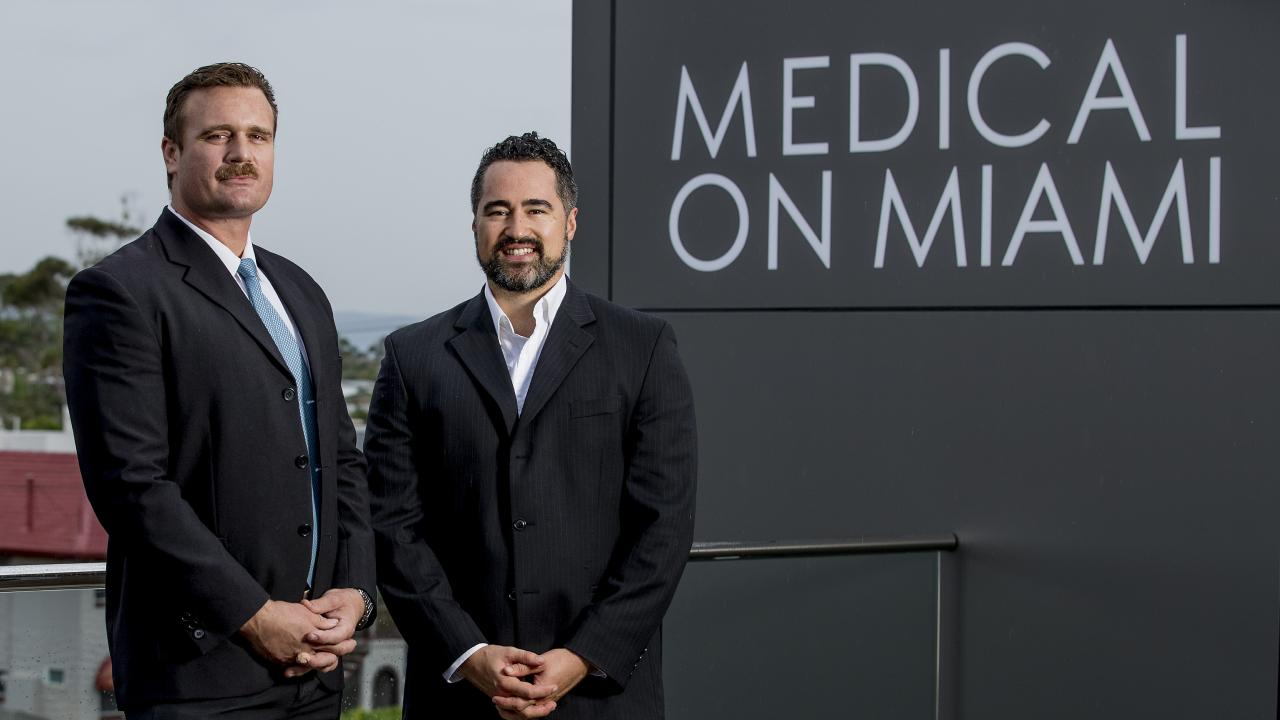 Gold Coast doctors Ben Jansen (left0 and Matua Jansen, of Cannabis Doctors Australia, have launched a $2 million crowd-funding campaign to expand their medicinal cannabis business. Picture: Jerad Williams