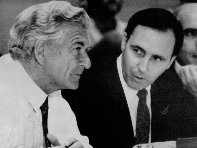 "In later years, Bob Hawke spoke of his famous rivalry with Paul Keating, saying he wanted  the public to ""look at the  positives"".  Picture: Alan Porritt"