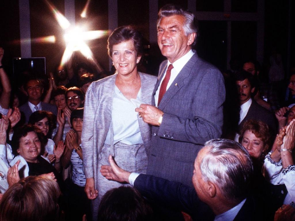 Prime Minister Bob Hawke with wife Hazel after his re-election in 1984. Picture: Brisbane Sun
