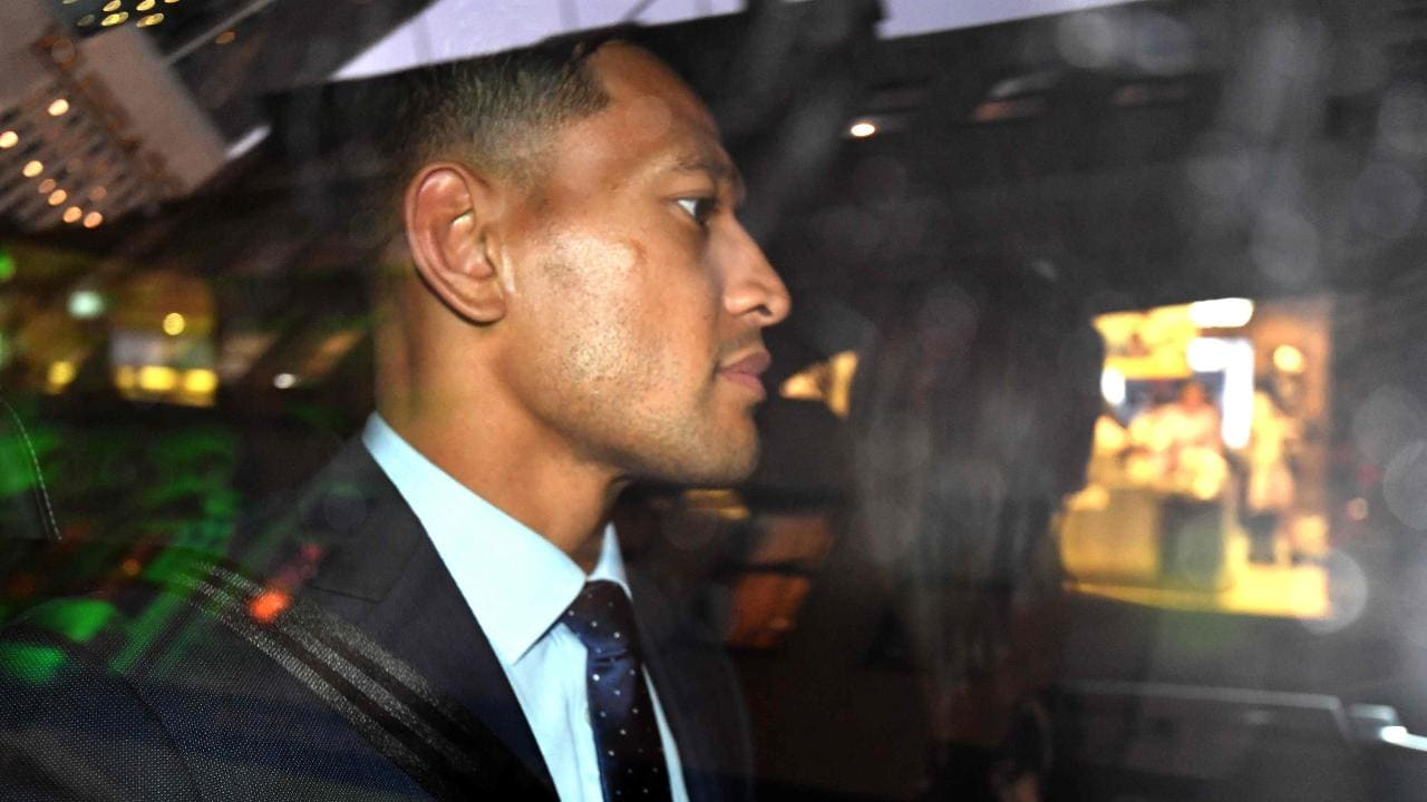 Israel Folau departs after a code of conduct hearing in Sydney on May 7.