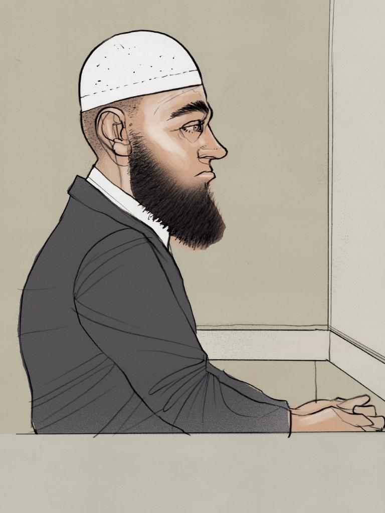 Court drawing of Agim Kruezi during his sentencing.