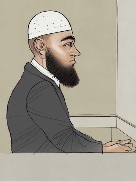 Court drawing of Agim Kruezi during his sentencing.