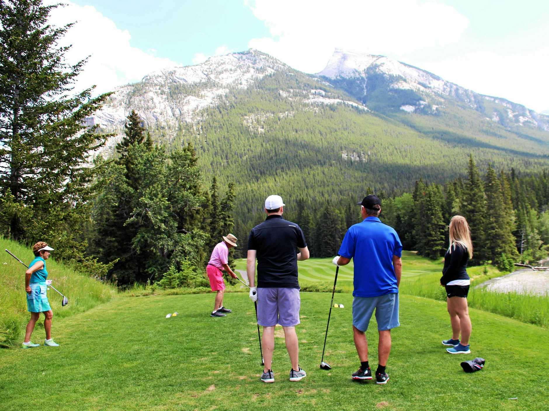 The 15th hole at Banff Springs Golf Course, called Spray.