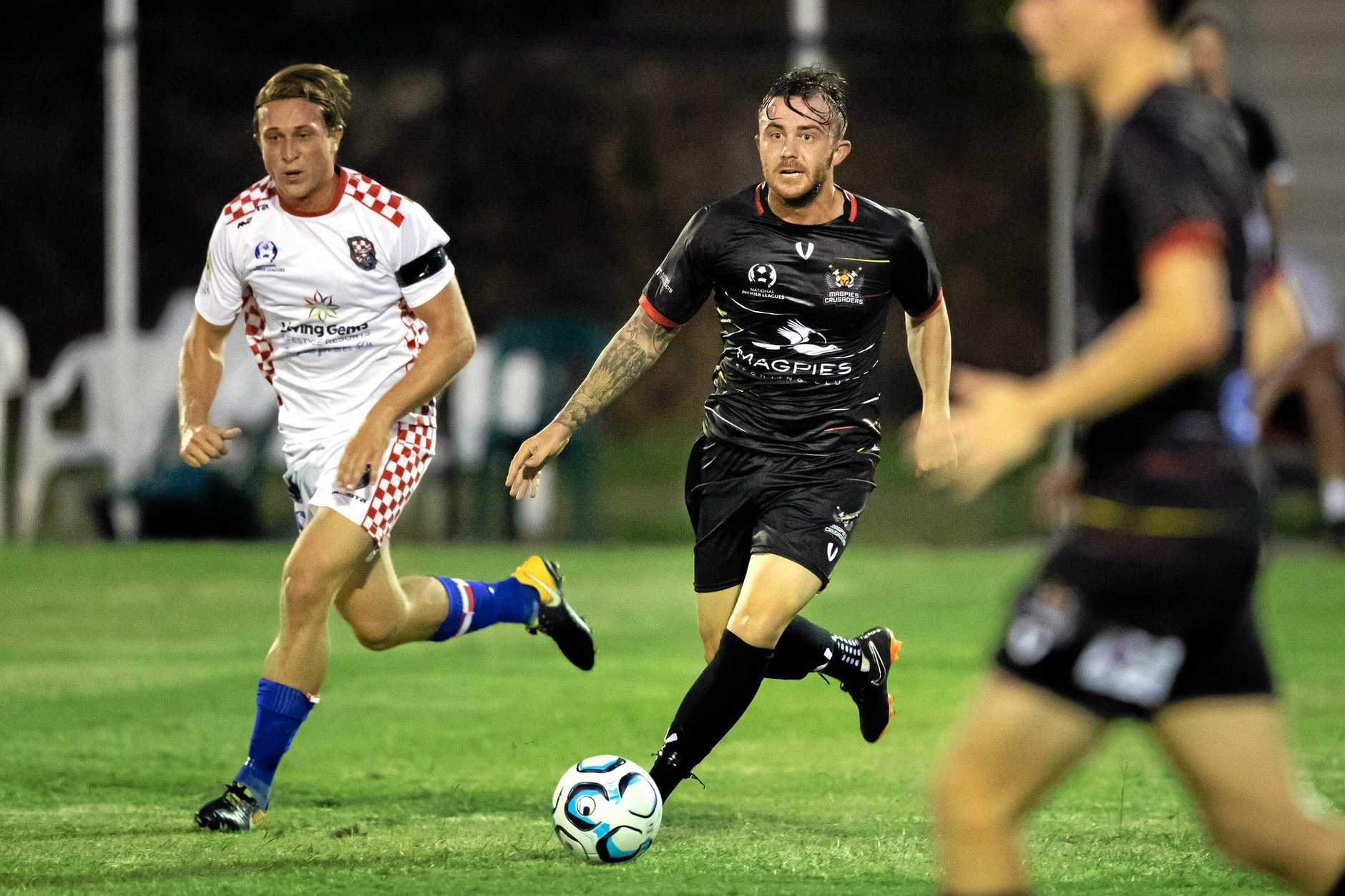 Magpies Crusaders Liam Shipton on the run against the Gold Coast Knights in the opening round of the 2019 NPL Queensland season.