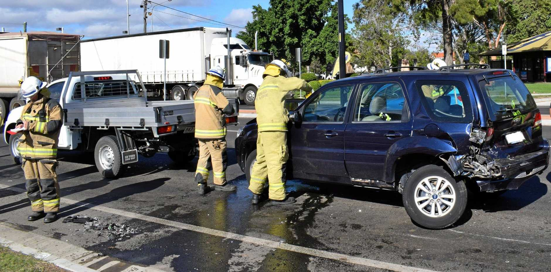 Three vehicles were involved in the collision on Drayton St this morning