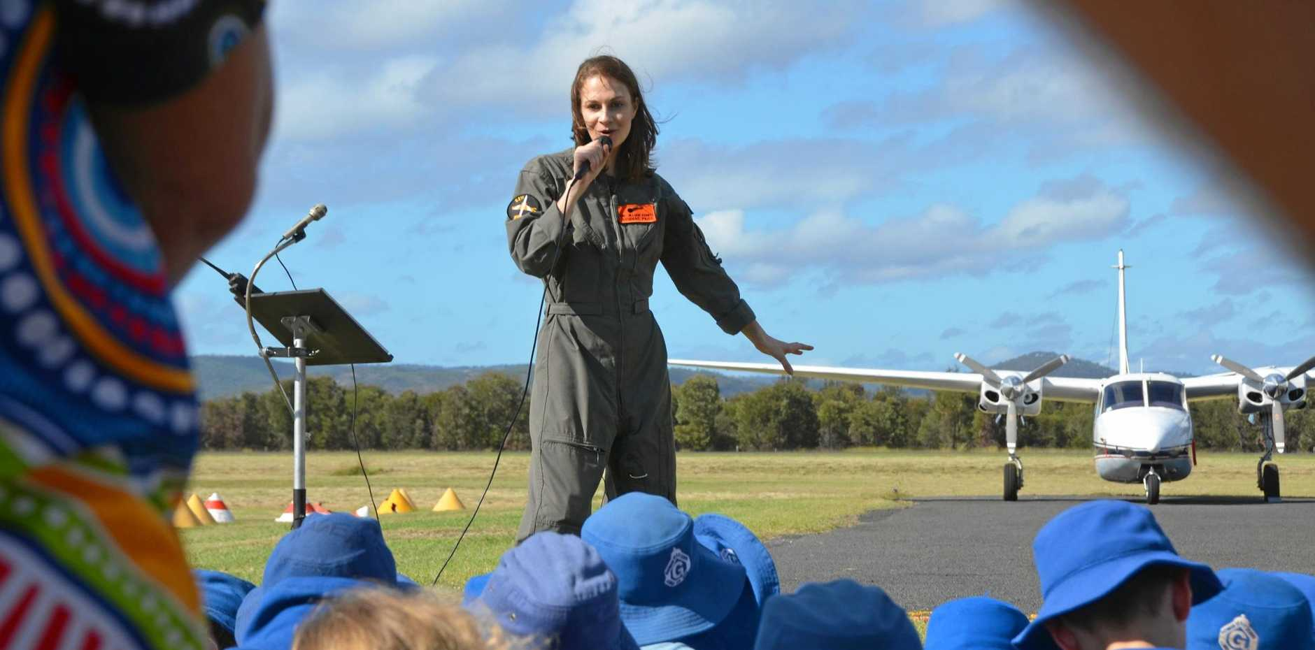 SKY'S THE LIMIT: Dr Jillian Kenny flies home to Gayndah in a fighter jet to inspire students alongside engineer Felicity Furey, engineer and inventor Steve Gale and Willie
