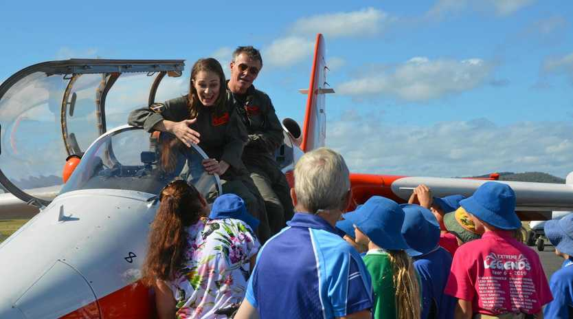 HOME BOUND: Dr Jillian Kenny flies home to Gayndah in a fighter jet to inspire students alongside engineer Felicity Furey, engineer and inventor Steve Gale and Willie