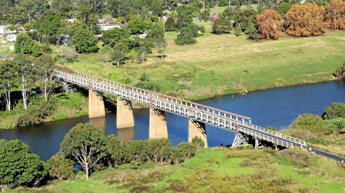 The historic Tabulam Bridge crossing of the Clarence River from helicopter.