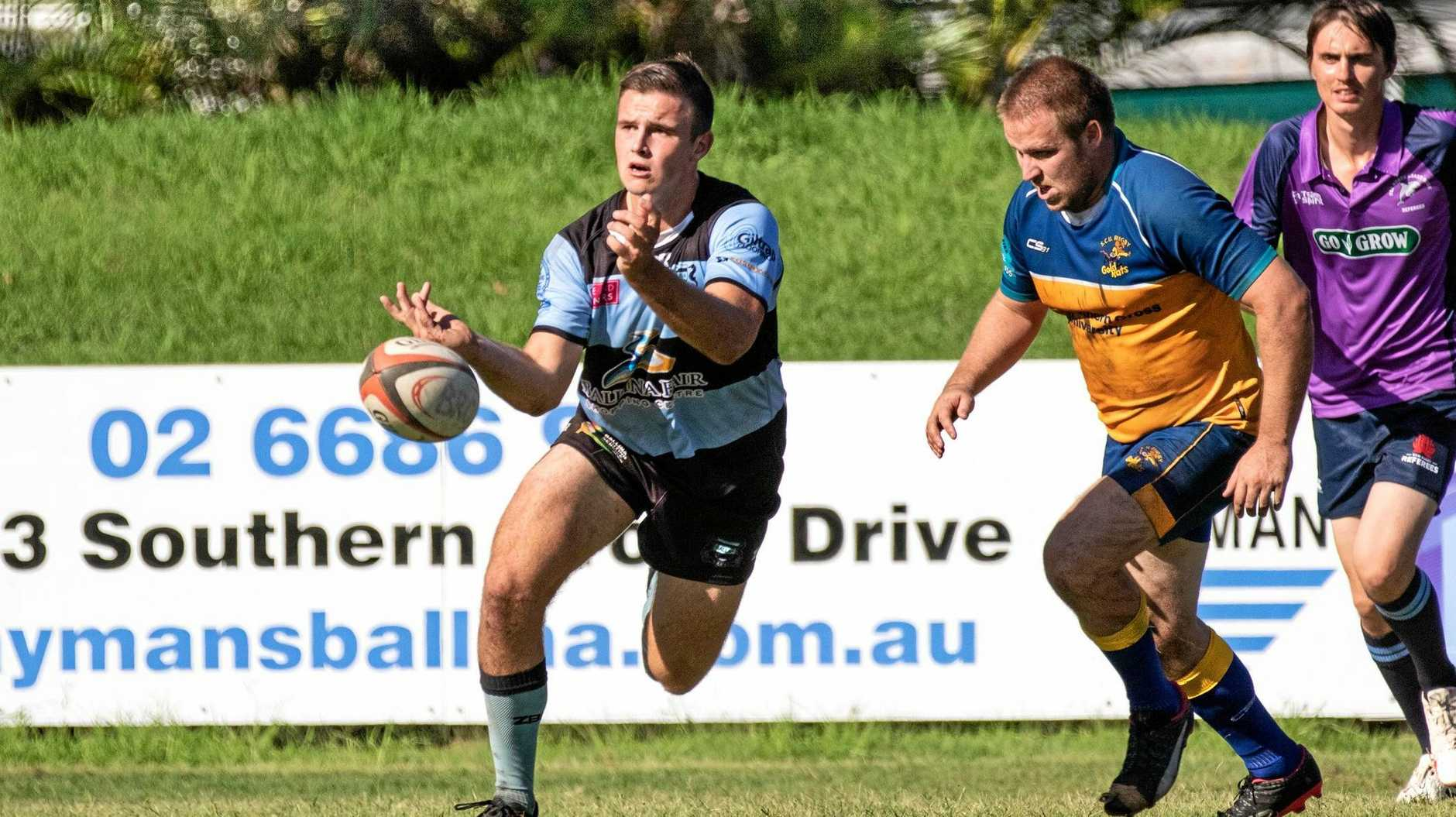 COMBINATION: Ballina halfback Nick Watson in action in FNC rugby union .