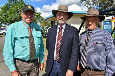 Gympie Show president Graham Engeman, General Manager of Queensland Ag Shows Trevor Beckingham and Chief Dairy Steward Ray Zerner at the Gympie Show.