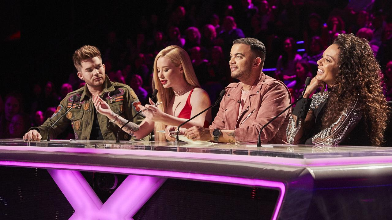 Judges Adam Lambert, Iggy Azalea, Guy Sebastian and Mel B on the X Factor Live Show.