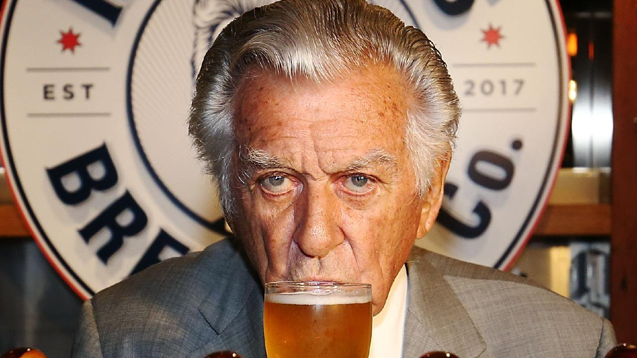 Former Australian prime minister Bob Hawke is famous for sculling beer as much as he is anything else. Picture: Mark Metcalfe/Getty Images