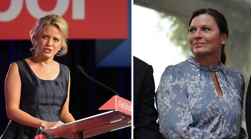 Opposition Leader Bill Shorten's wife Chloe and Scott Morrison's wife Jenny.