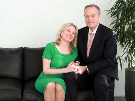 Bill and Chloe Shorten during their exclusive interview with news.com.au. Picture: John Guanzon