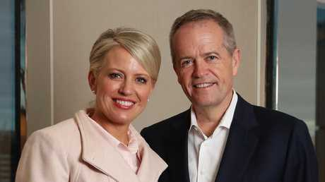 Labor Leader Bill Shorten and wife Chloe pose for a photo during the campaign trail in Melbourne. Picture: Liam Kidston