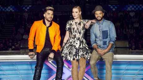 Adam Lambert, Iggy Azalea and Guy Sebastian on X Factor. Picture: Channel 7