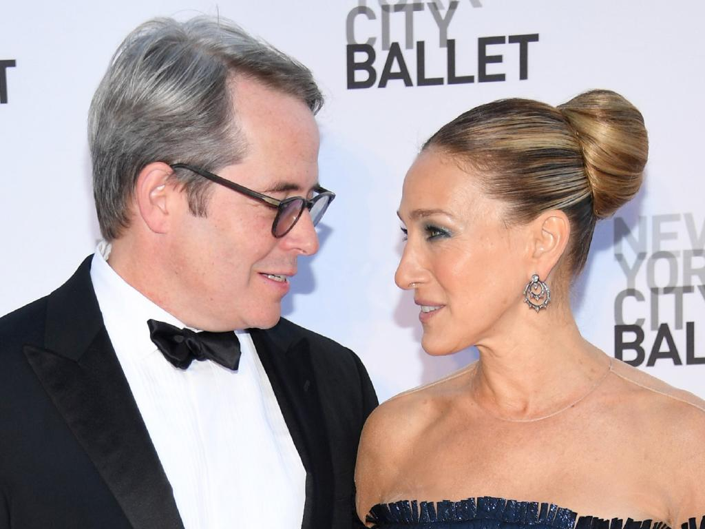 "Matthew Broderick and Sarah Jessica Parker at a gala in New York City. She says they spent four ""blissful"" days in London recently. Picture: Dimitrios Kambouris/Getty Images"
