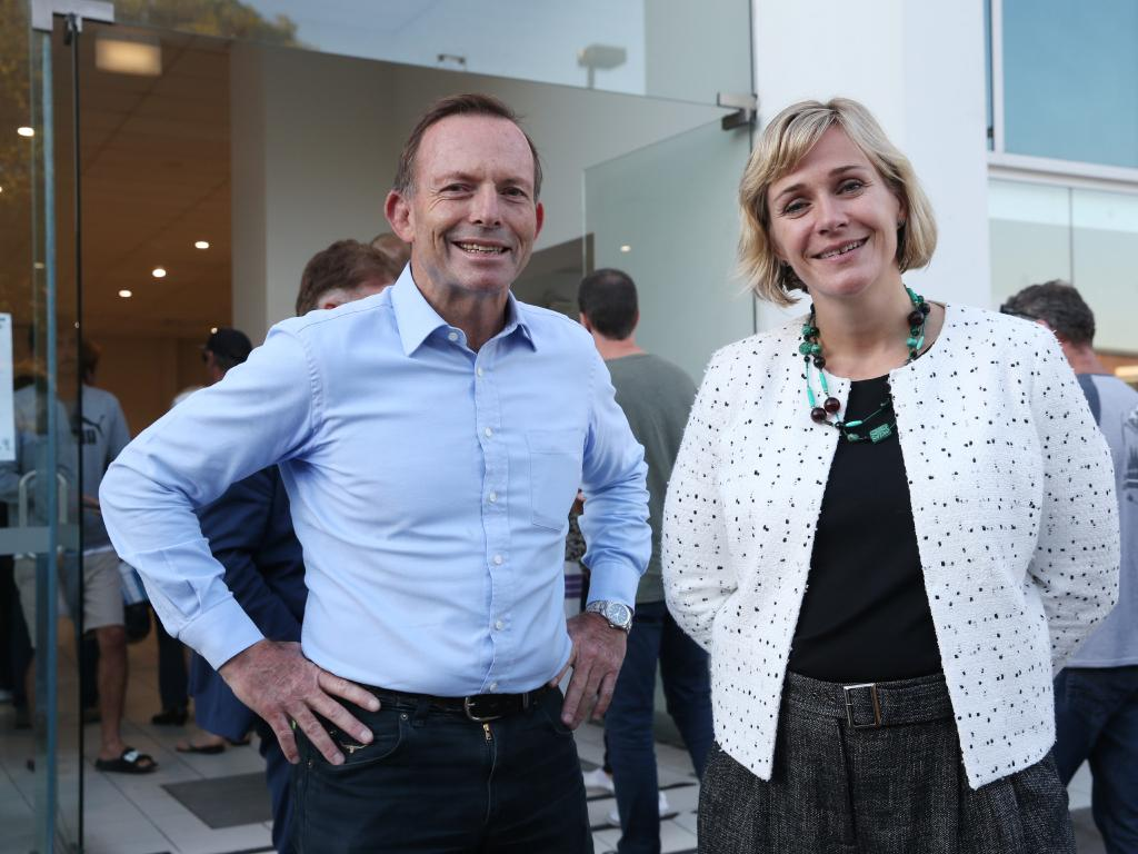 Tony Abbott MP and challenger Zali Steggall both spotted at the Brookvale Pre-Polling booth. Picture: David Swift.