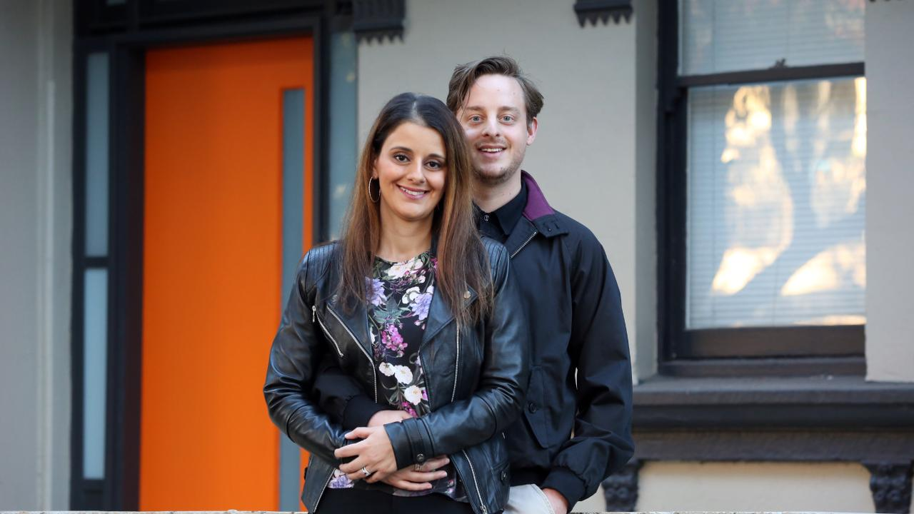 Thomas Glaister, 30, and partner Angela George, 33, are on the hunt for their first home. Picture: Jane Dempster