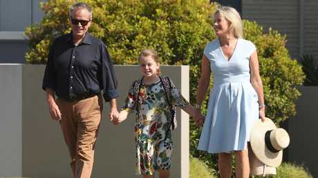Bill Shorten with wife Chloe and daughter Clementine. Picture: Lyndon Mechielsen