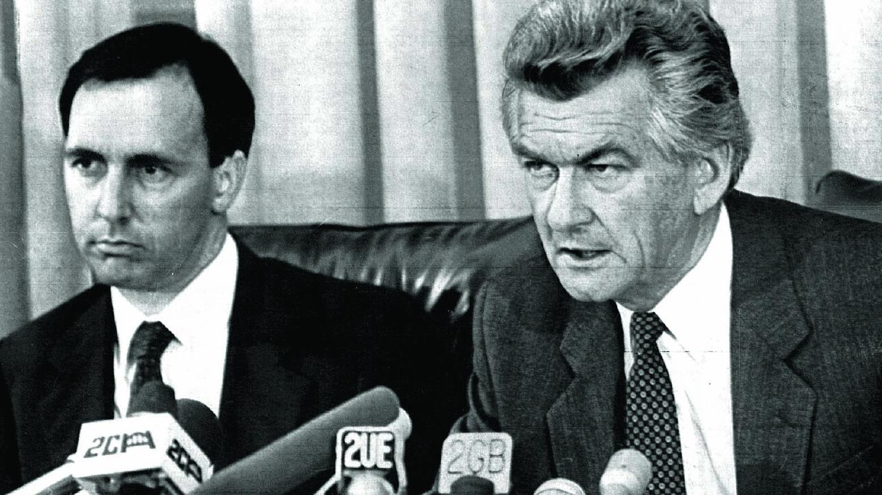Paul Keating and Bob Hawke during a press conference at Parliament House in 1983.