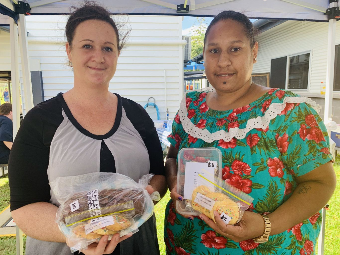 Marila Aitken and Kristy Tante are running the bake sale at the Dundula State School polling booth for Election Day 2019.