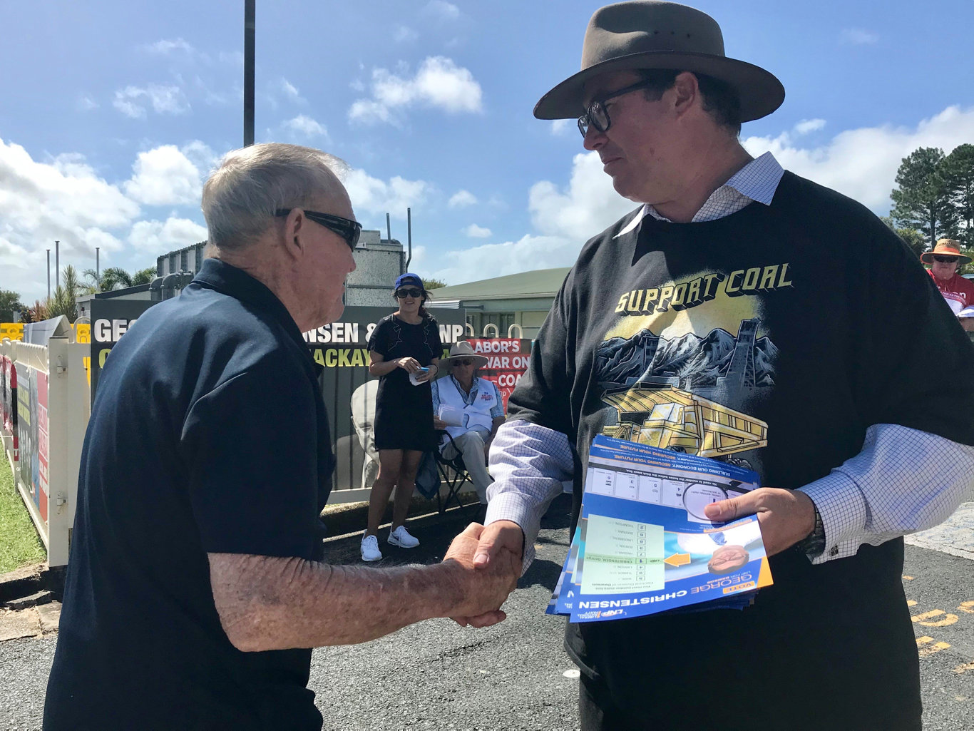 Member for Dawson George Christensen meets with voters at the Fitzgerald State School polling station.