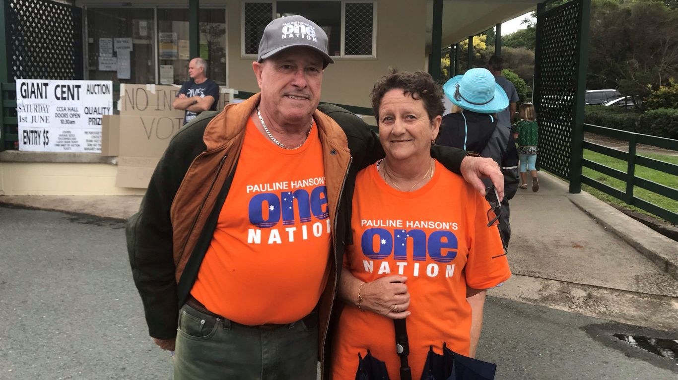 HOPEFUL: One Nation Party volunteers Wendy and Darryl Turner are handing out how to vote cards today at the Nutley St, Caloundra polling station.