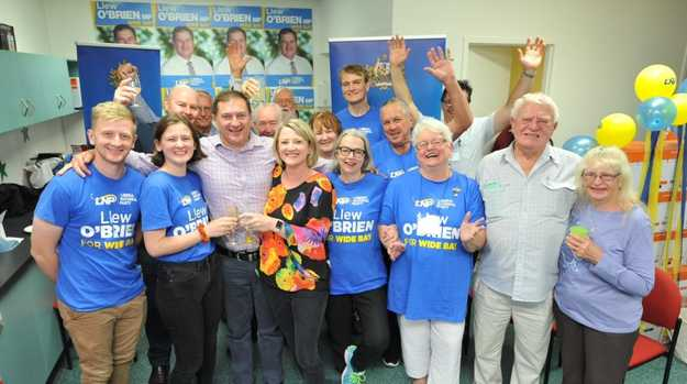 LNP candidate Llew O'Brien with his wife Sharon and their family and supporters.