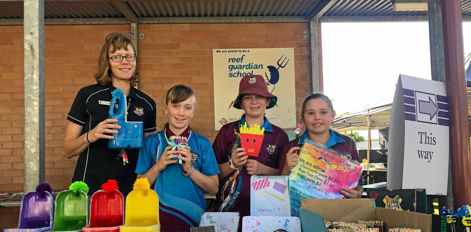 Gladstone Central State School teacher Carol Devney with students Jolene Devney, Caitlin Price and Tegan Albeck at the earlypreneur markets on election day 2019.