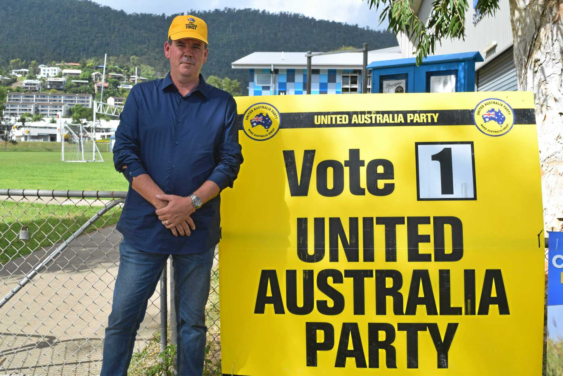 Dawson United Australia Party candidate Colin Thompson was handing out how-to-vote cards in Cannonvale and Proserpine today.