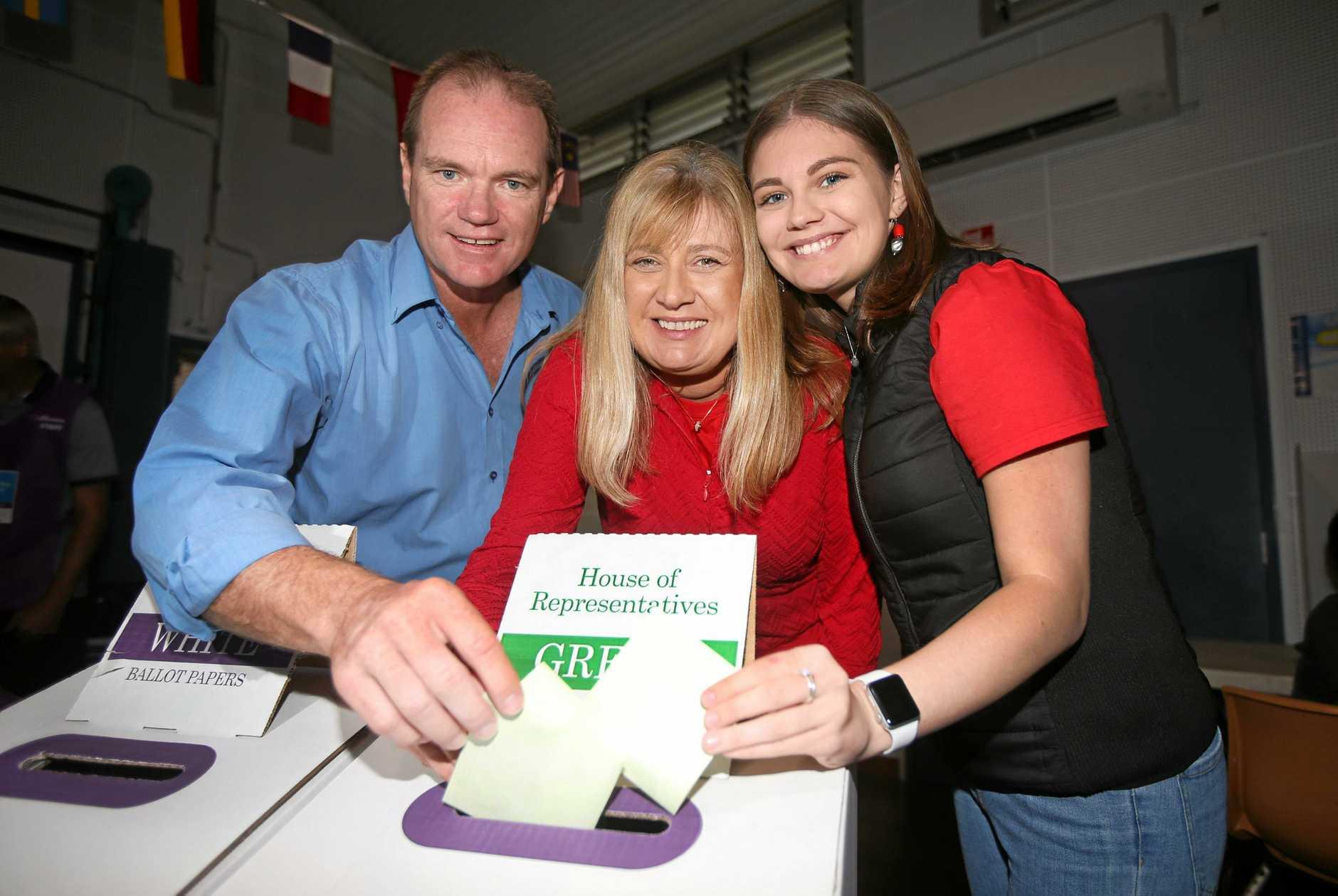 Craig Elliot, Richmond MP Justine Elliot and their daughter Alex cast their votes.