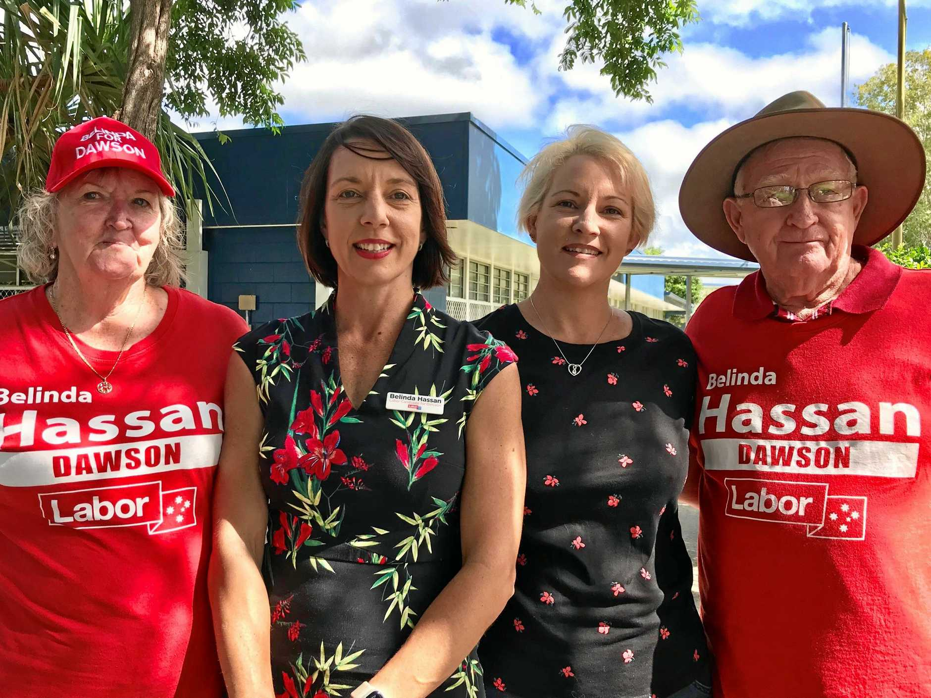 Dorothy Colby, Belinda Hassan, Juanita Colby and Peter Colby at the Bucasia State School polling station.