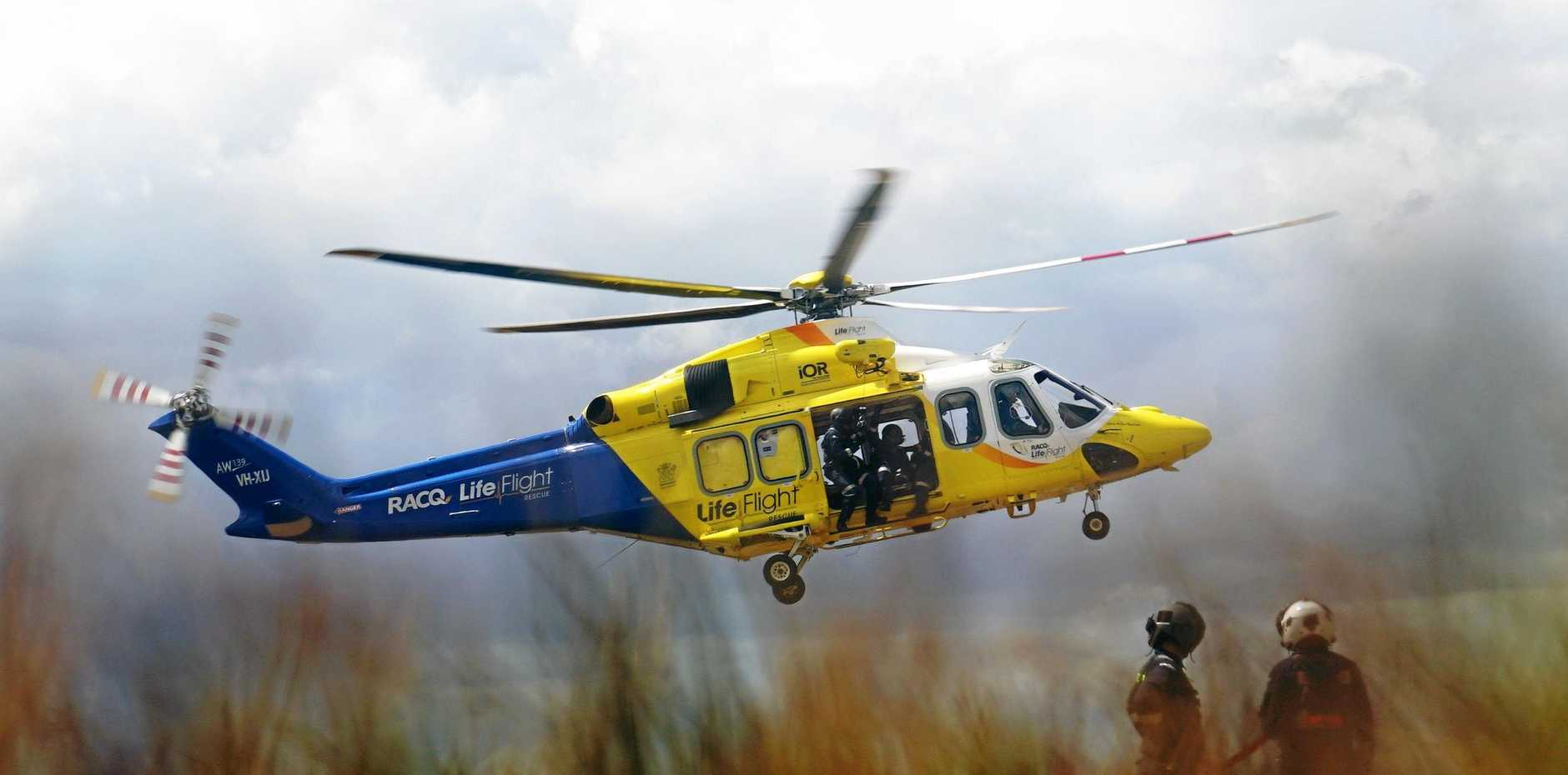 CRASH: Three people are being transported by helicopter from Eidsvold to Bundaberg hospital.