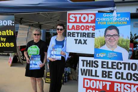 Robyn Darwen and Natalie Smith represented the LNP in Bowen on election day.