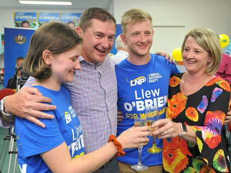 Llew O'Brien and his family celebrating his hold on Wide Bay. Mr O'Brien leads the count on about 43 per cent.
