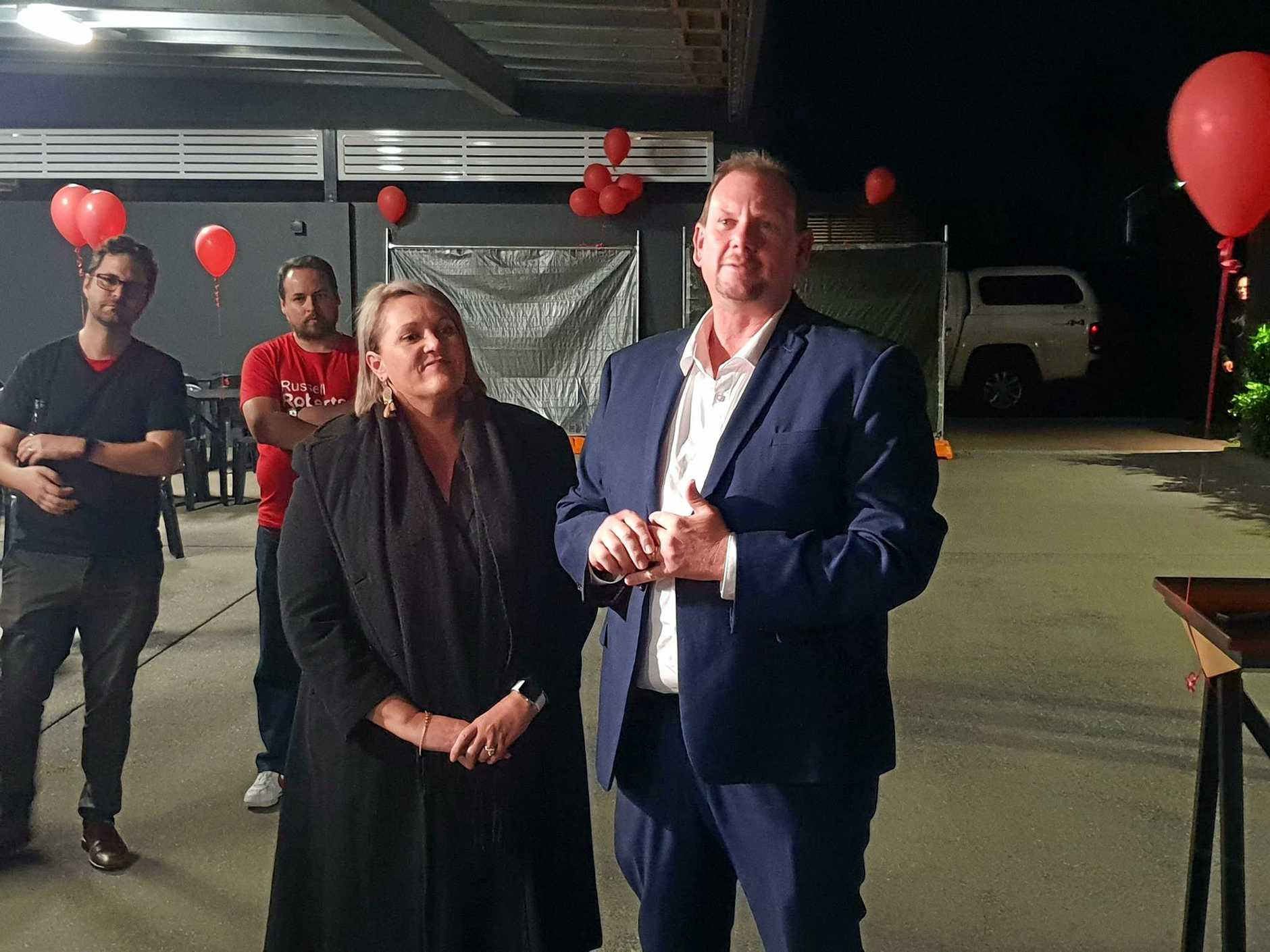 LABOR HEARTBREAK: Labor's candidate for Capricornia Russell Robertson with his wife Denise in conceding.