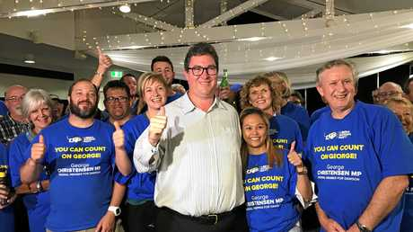Dawson MP George Christensen celebrates his 2019 Federal Election win with his fiancee April, family, friends and supporters.