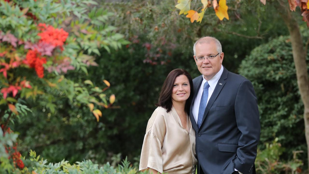 Prime Minister Scott Morrison and his wife Jenny, on the grounds of The Prime Minister's Lodge in Canberra. Picture: Alex Coppel.