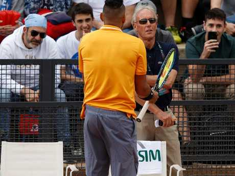 Nick Kyrgios, moments before he was defaulted. Picture: Getty