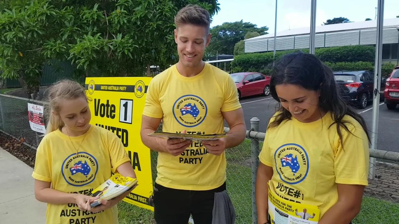 United Australia Party 'volunteers' at the Freshwater State School polling booth in Cairns could not name any of Clive Palmer's policies but swore he was not paying them amid reports he has sourced booth workers from a local modelling agency. PICTURE: CHRIS CALCINO