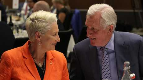 Former Liberal Leader John Hewson and Kerryn Phelps at the National Press Club in Canberra. Picture Kym Smith