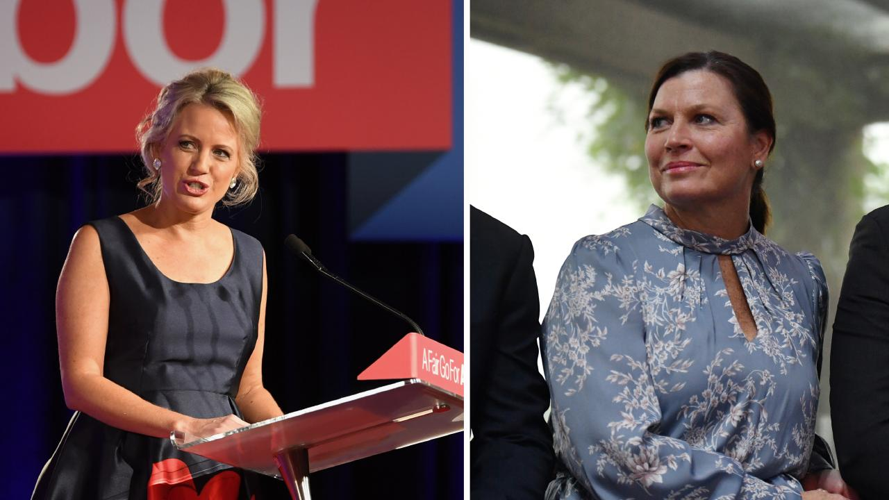 Bill Shorten's wife Chloe Shorten, left, and Scott Morrison's wife Jenny Morrison. Pictures: Mick Tsikas/Lukas Coch/AAP