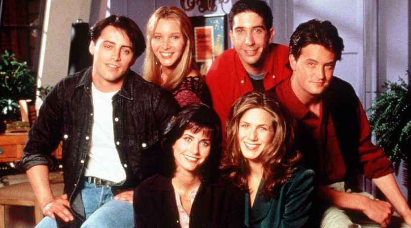 Matt LeBlanc with Lisa Kudrow, Courteney Cox, David Schwimmer, Jennifer Aniston and Matthew Perry in Friends. Picture: Supplied