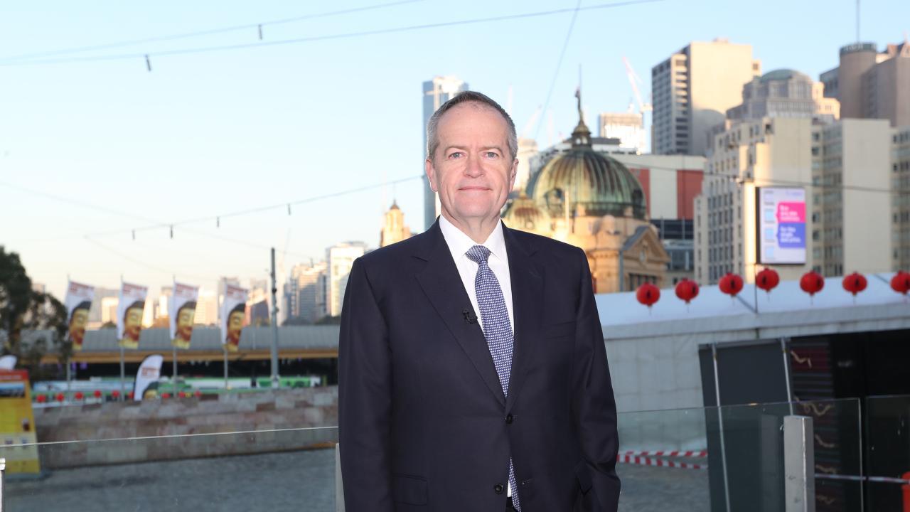 Opposition Leader Bill Shorten doing morning TV in Melbourne. Picture Kym Smith